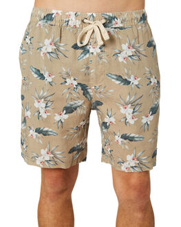 TAN FLORAL MENS CLOTHING THRILLS SHORTS - TR8-304CZTANFL