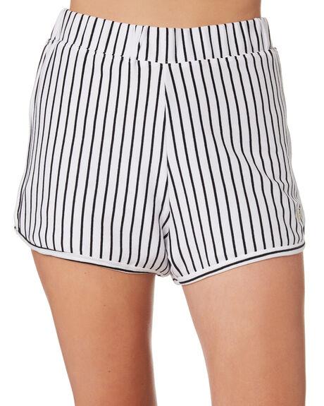 WHITE BLACK STRIPE WOMENS CLOTHING STUSSY SHORTS - ST183600WHBK