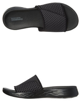 BLACK GREY WOMENS FOOTWEAR SKECHERS SLIDES - 15305BKGY