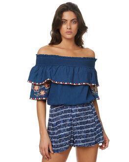 DENIM BLUE WOMENS CLOTHING TIGERLILY FASHION TOPS - T372044INKY