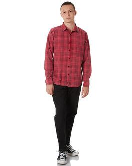 RED BLACK MENS CLOTHING SILENT THEORY SHIRTS - 4014032RBLK