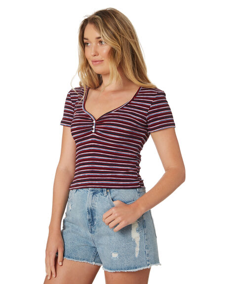 NAVY RED BLUE WOMENS CLOTHING ALL ABOUT EVE TEES - 6426059STR2