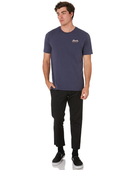 WASHED NAVY MENS CLOTHING BRIXTON TEES - 06726WANAV