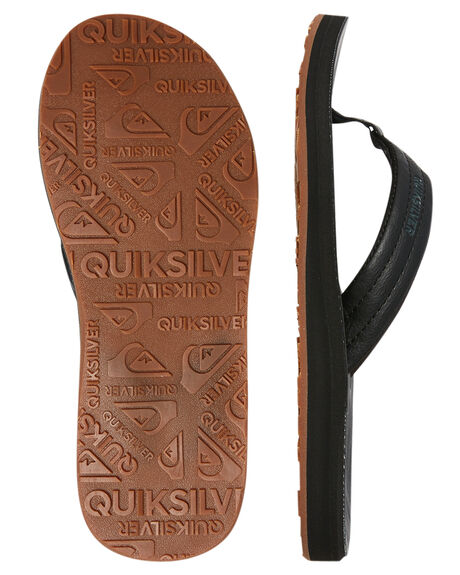 SOLID BLACK MENS FOOTWEAR QUIKSILVER THONGS - AQYL100623SBKM