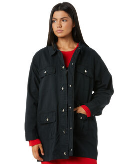 BLACK WOMENS CLOTHING STUSSY JACKETS - ST195705BLK