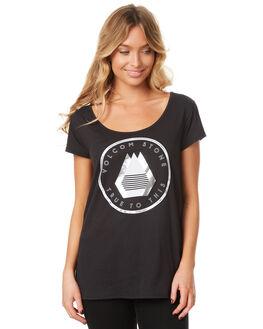 BLACK WOMENS CLOTHING VOLCOM TEES - B3531706BLK