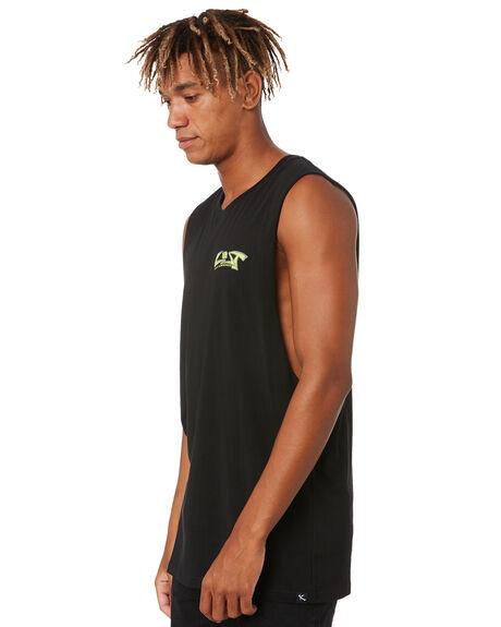 BLACK MENS CLOTHING LOST SINGLETS - LMU-20408-BLK