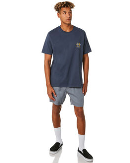 STEEL BLUE LINEN MENS CLOTHING BARNEY COOLS SHORTS - 615-CC3STBLL