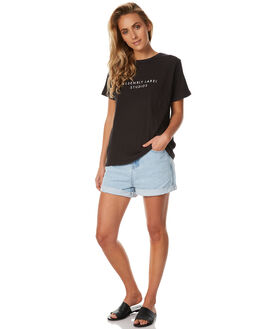 WORN BLACK WOMENS CLOTHING ASSEMBLY TEES - AW-S1790WBLK