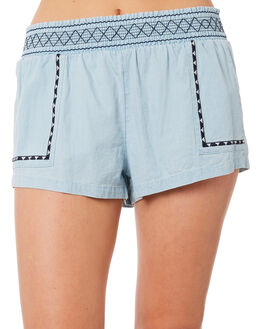 LIGHT BLUE WOMENS CLOTHING RIP CURL SHORTS - GWAEJ11080