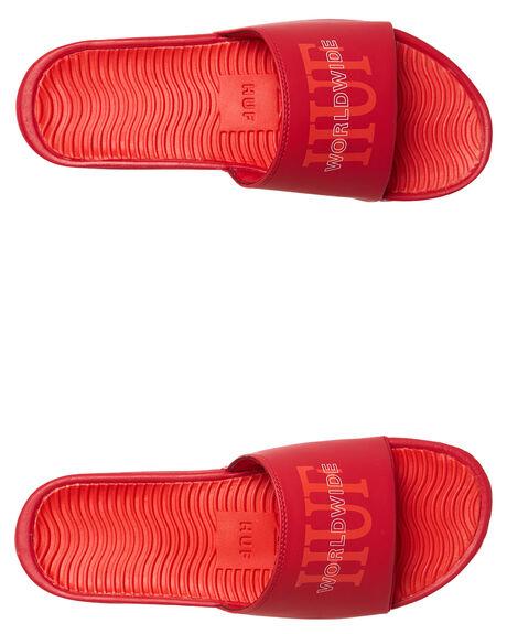 RED OUTLET MENS HUF SLIDES - CP00006RED