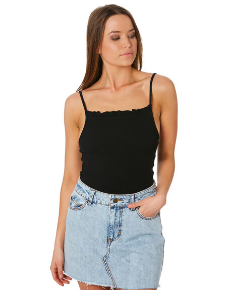 WASHED BLACK WOMENS CLOTHING SWELL SINGLETS - S8201007BKWSH