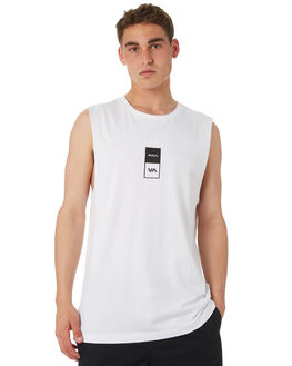 WHITE MENS CLOTHING RVCA SINGLETS - R182006WHT