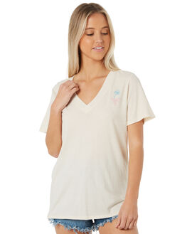 LIGHT CREAM OUTLET WOMENS HURLEY TEES - AQ4534-200