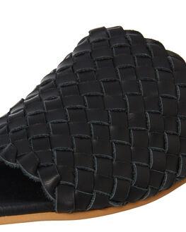 BLACK LEATHER WOMENS FOOTWEAR WALNUT SLIDES - VIENNASLIDEBLTR