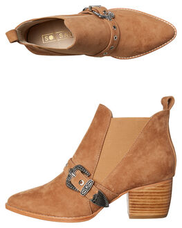 TAN SUEDE WOMENS FOOTWEAR SOL SANA BOOTS - SS181W409TAN