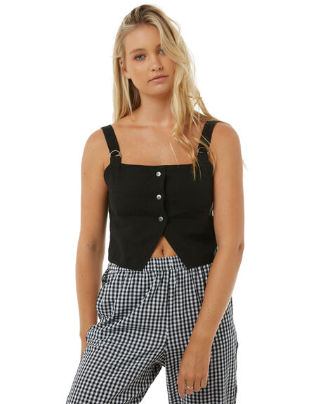 BLACK WOMENS CLOTHING AFENDS FASHION TOPS - W181100BLK