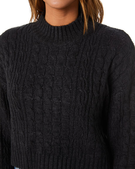 BLACK WOMENS CLOTHING RUSTY KNITS + CARDIGANS - CKL0394-BLK