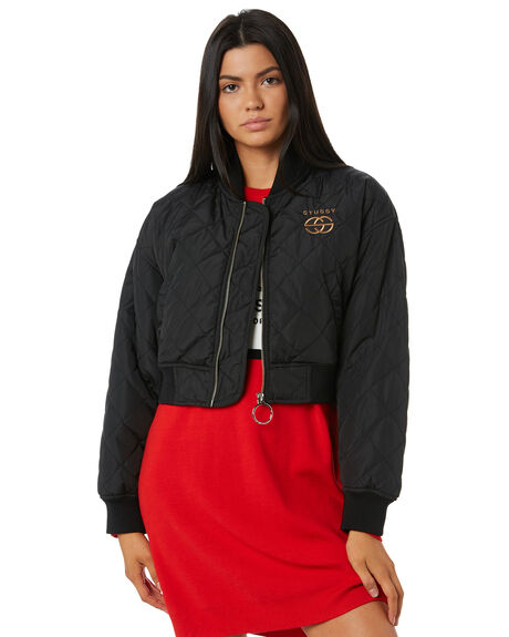 BLACK WOMENS CLOTHING STUSSY JACKETS - ST195701BLK