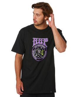 BLACK MENS CLOTHING HUF TEES - TS00879-BLACK