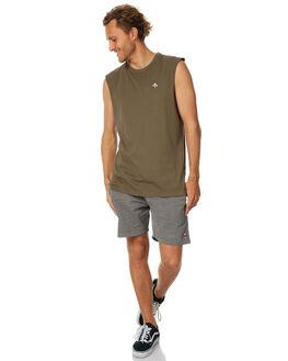 ARMY GREEN MENS CLOTHING THRILLS SINGLETS - TS7-130FAGRN