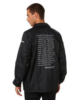 BLACK MENS CLOTHING HUF JACKETS - JK00283-BLK