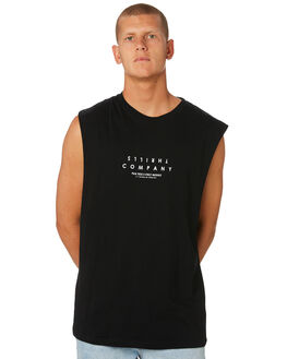 BLACK MENS CLOTHING THRILLS SINGLETS - TS8-113BBLK