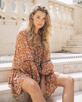 BROWN WOMENS CLOTHING FREE PEOPLE DRESSES - OB11020242005