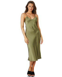 OLIVE WOMENS CLOTHING LULU AND ROSE DRESSES - LU23736OLIVE