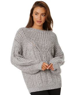 LIGHT GREY MARLE WOMENS CLOTHING RUSTY KNITS + CARDIGANS - CKL0378LGM