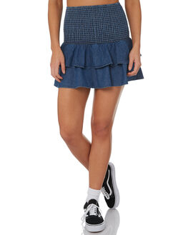 DENIM BLUE WOMENS CLOTHING RVCA SKIRTS - R282834DBLUE