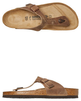 TABACCO BROWN MENS FOOTWEAR BIRKENSTOCK SLIDES - 943811TBRN