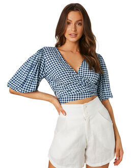 NAVY CHECK WOMENS CLOTHING LILYA FASHION TOPS - RCHT05NVY