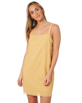 WASHED MUSTARD WOMENS CLOTHING NUDE LUCY DRESSES - NU23776MUST