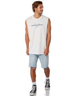 DIRTY WHITE MENS CLOTHING THRILLS SINGLETS - TS9-120ADTWHT