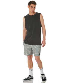 PIRATE BLACK MENS CLOTHING RVCA SINGLETS - R181013PBLK