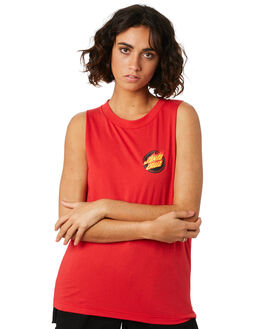POP RED WOMENS CLOTHING SANTA CRUZ SINGLETS - SC-WTD9956RED