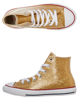 GOLD KIDS GIRLS CONVERSE HI TOPS - 663625GOLD