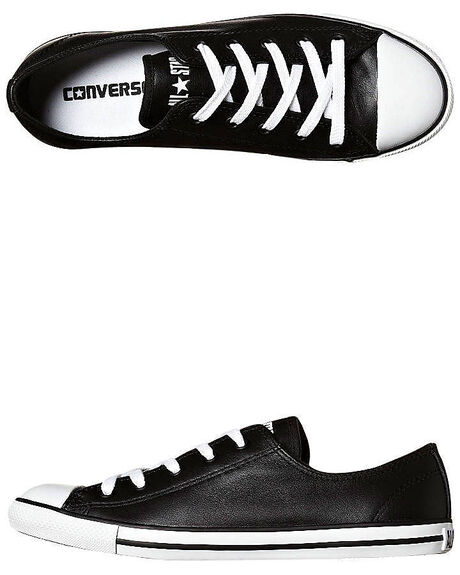 c3446c8c29f88f Converse Chuck Taylor Womens All Star Dainty Leather Shoe - Black ...