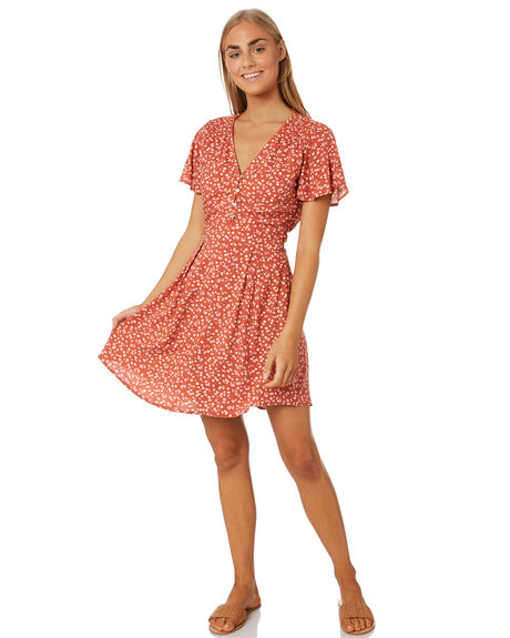 RED FLORAL WOMENS CLOTHING ELWOOD DRESSES - W01701REDF