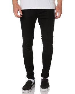 BLACK MENS CLOTHING AFENDS JEANS - 12-01-050BLK
