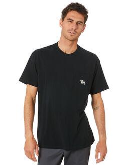 BLACK MENS CLOTHING STUSSY TEES - ST007000BLK
