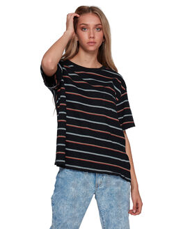 BLACK MULTI WOMENS CLOTHING BILLABONG TEES - BB-6507011-BKU