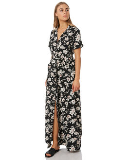 BLACK FLORAL PRINT WOMENS CLOTHING VOLCOM DRESSES - B1341918BFP
