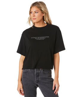 BLACK WOMENS CLOTHING STUSSY TEES - ST191003BLK