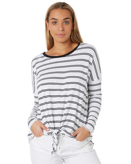 WHITE BLACK STRIPE WOMENS CLOTHING BETTY BASICS TEES - BB256W19WBSTR