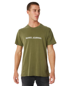 OLIVE MENS CLOTHING BANKS TEES - WTS0252OLV