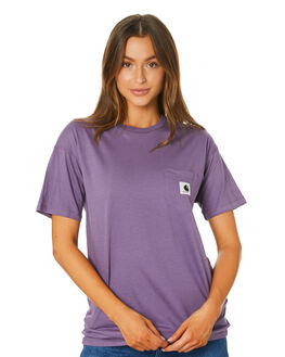 DUSTY MAUVE BLACK WOMENS CLOTHING CARHARTT TEES - I02189005E90