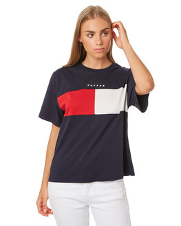 NAVY AND WHITE WOMENS CLOTHING HUFFER TEES - WTE01S4106NVWHT