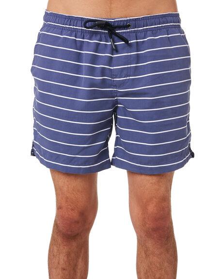 NAVY WHITE STRIPE MENS CLOTHING ACADEMY BRAND BOARDSHORTS - 19S719NVWHS